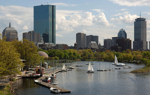 A picture of the Boston skyline